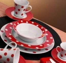 Kütahya Porselen Corner Coll 24 Parça Yemek Seti Kırmızı