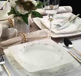 Kütahya Porselen Aliza Bone 12 Parça 65119 Desenli Yemek Takımı