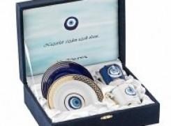 Kütahya Porselen Gozde Kahve Fincanı Tabaklı 4 adet El-dek Nazar Seti