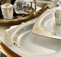 Kütahya Porselen Bone Mare 62 Parça Desenli Yemek Takımı